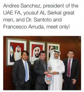 Da esq. para a dir.: o empresário Francesco Arruda, Andres Sanchez, Yousuf Al Serkal e Luiz Felipe Santoro